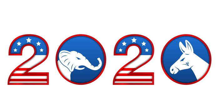 Numbers 2020 with an angry elephant and a angry donkey occupying the zeros