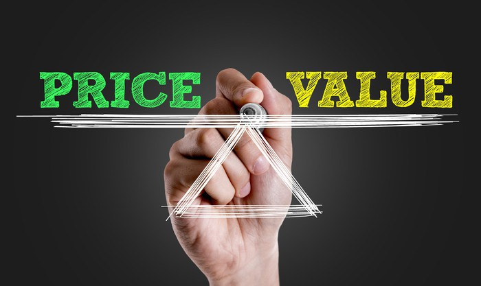 """A hand draws a see-saw scale with the word """"price"""" on one side and """"value"""" on the other."""