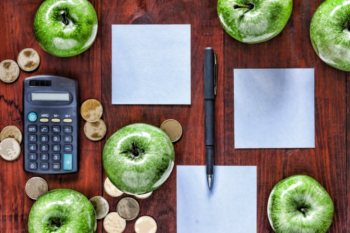 A desk with neatly arranged calculator, pen, papers, gold coins, and green apples.