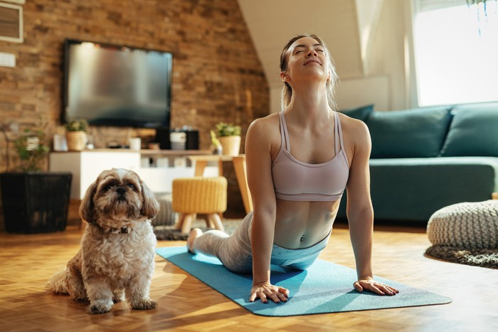 A woman wearing casual athletic clothing practicing yoga at home, with a pet dog sitting nearby.