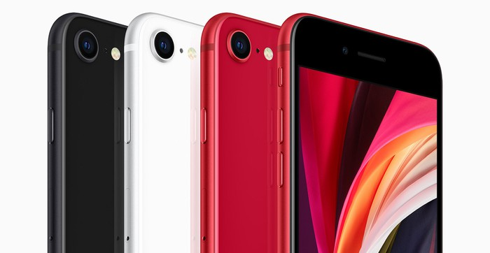 iPhone SE 2 in black, white, and red