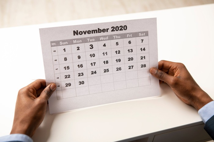 Hands holding a piece of paper showing a November 2020 calendar