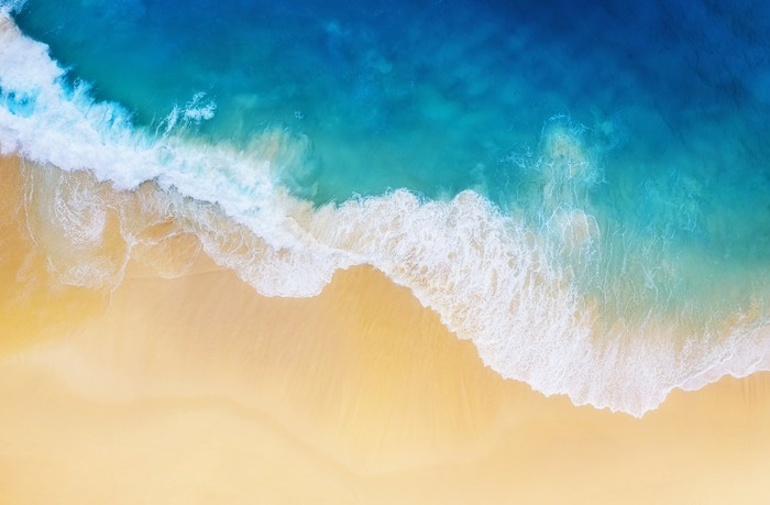 Aerial view of ocean and shoreline.