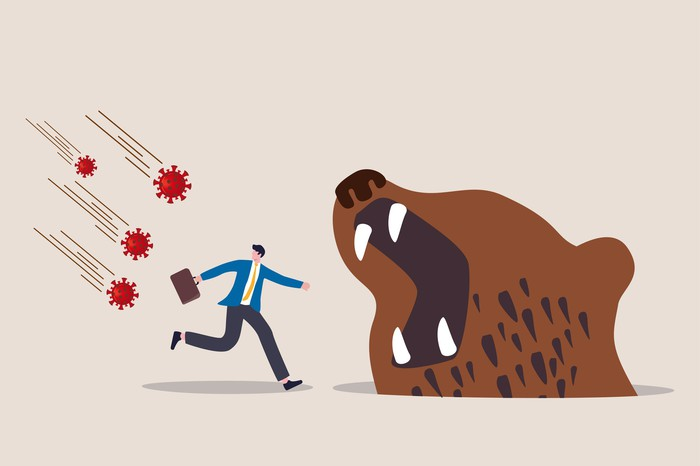 Concept art of a virus raining down on a businessman as he runs into the jaws of a bear