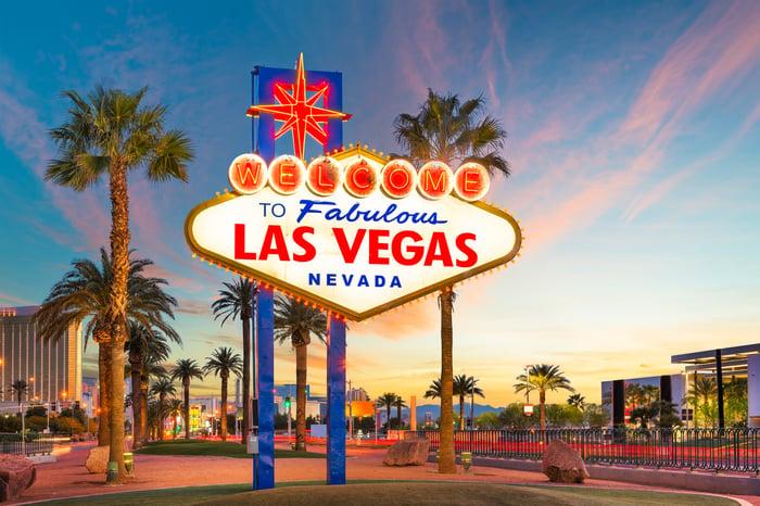 The famous Las Vegas sign at dusk.