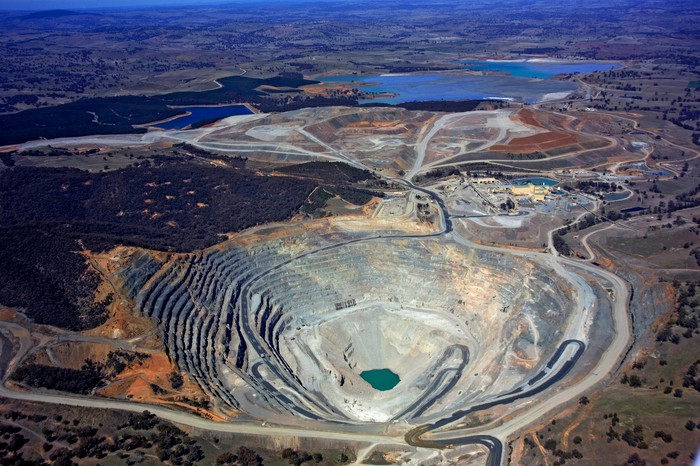 An aerial view of an open pit mine
