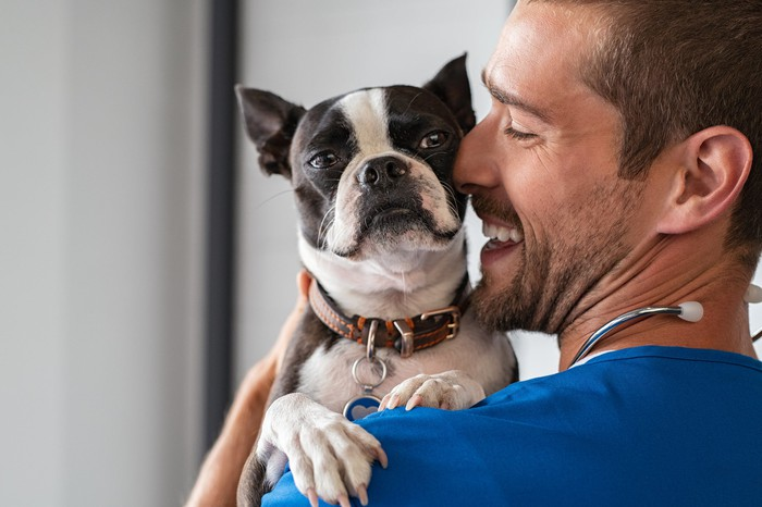 A veterinarian in a blue shirt holding a dog.