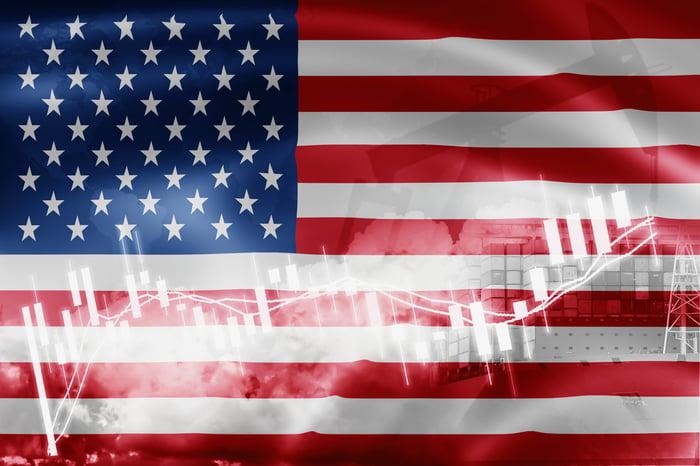 An American flag and a bar chart.