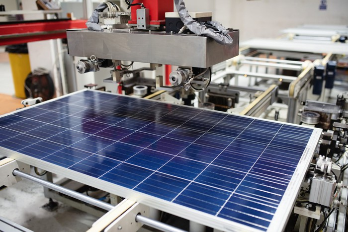 solar panel on manufacturing line