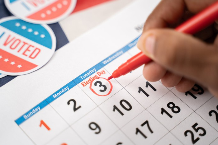 """Person circles election day, November 3rd, on a white calendar, with """"I Voted"""" stickers sitting beside."""