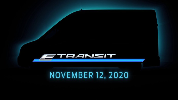 """The E-Transit is shown in outline, with the words """"E-Transit: November 12, 2020"""" below."""