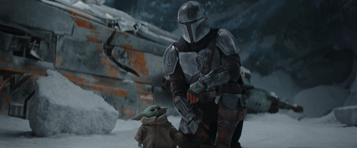 The main character during a scene from The Mandalorian.