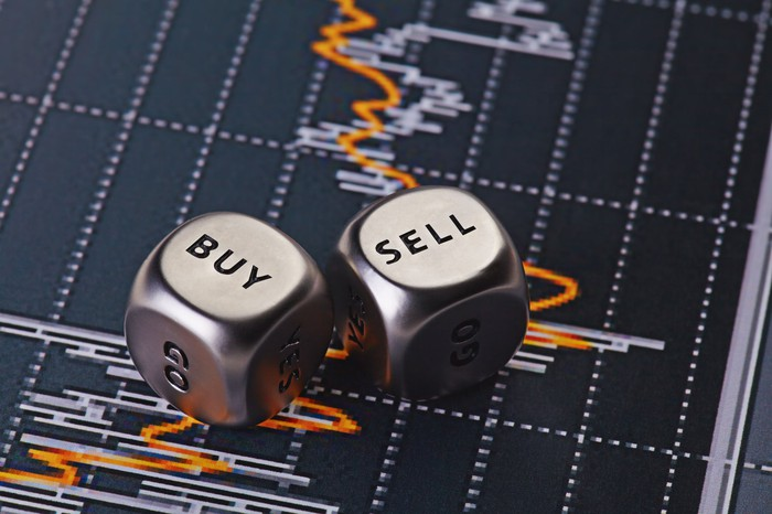 """Metallic dice with """"buy"""" and """"sell"""" faces up, lying on a stock chart."""