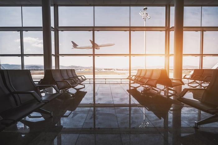 An airport lobby.
