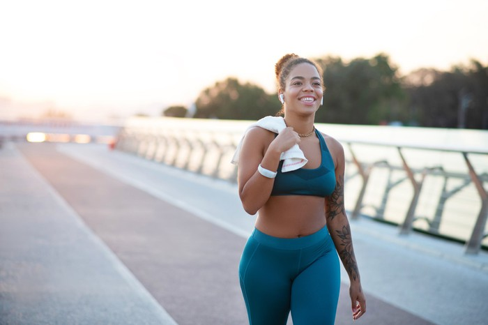woman in athletic apparel on a jog