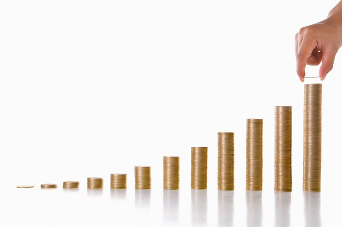 Compound interest growth picture shows how you can grow your Roth IRA account over time.