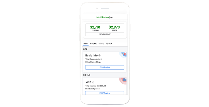 Credit Karma's app interface displayed on a smartphone