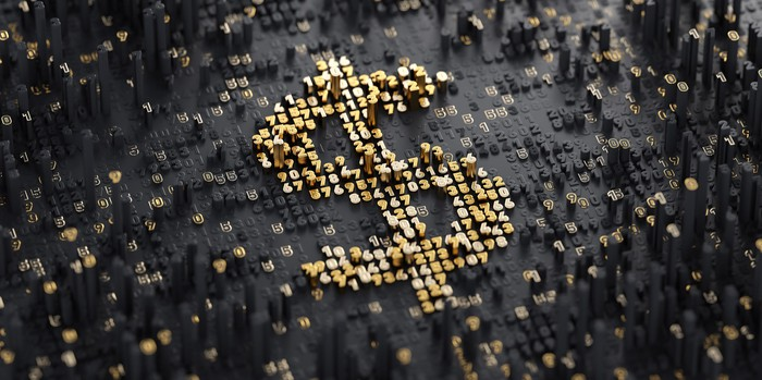 A U.S. dollar symbol comprised of binary numbers, representing the digitization of money.