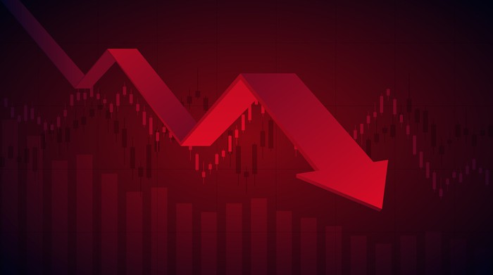 Red stock chart with a descending arrow.