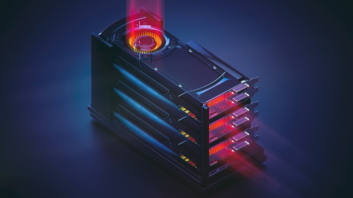 Graphics cards stacked on top of one another.