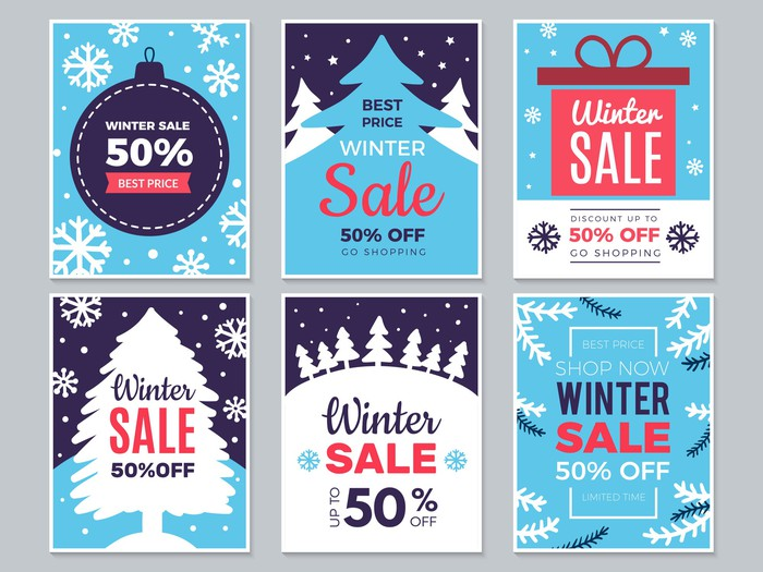 Six holiday-themed promotion cards saying 50% off.