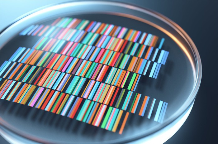 A circular glass on top of color-coded DNA sequences.
