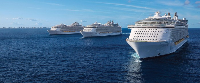 Royal Caribbean ships at sea.