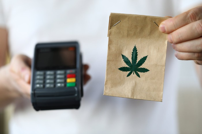 A person holds a bag of cannabis and a payment processing system.