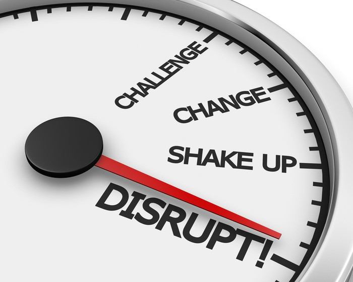 """Dial with needle pointing to """"disrupt."""""""