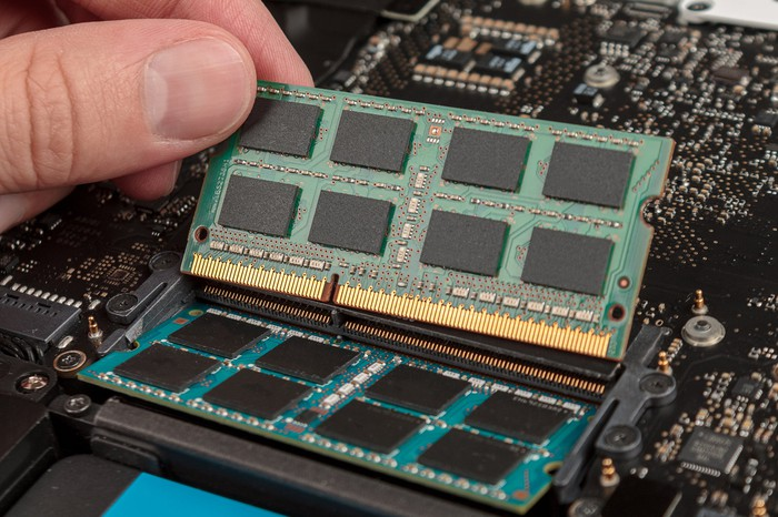 DRAM chips in a laptop.