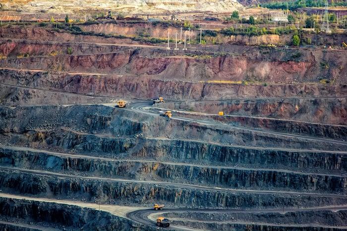 heavy trucks working levels of an open pit mine