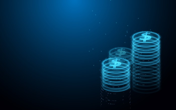 Stacks of digital coins