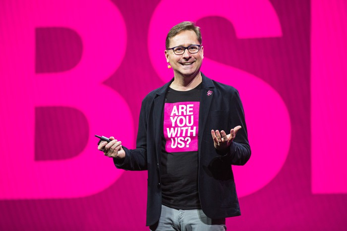 T-Mobile CEO Mike Sievert presenting on a stage