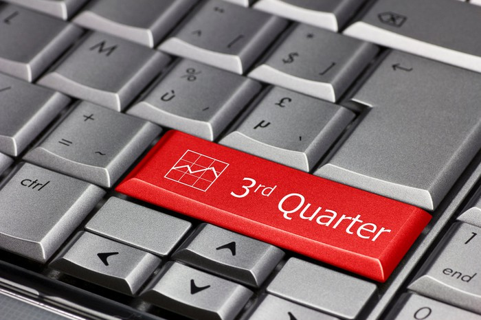 """A red button that says """"third quarter"""" on a gray keyboard."""