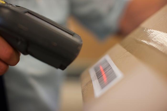 A barcode reader.