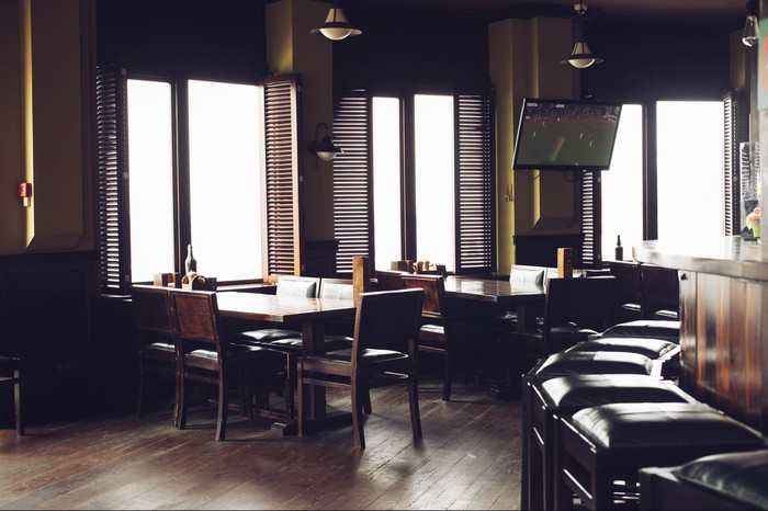 An empty bar and restaurant.