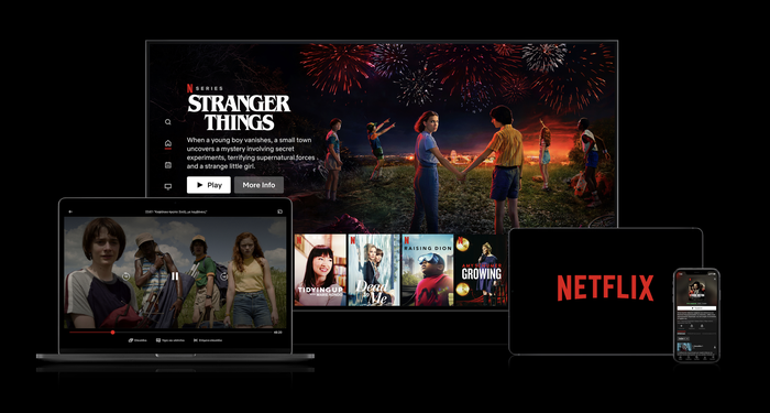A TV and mobile devices displaying Netflix content.