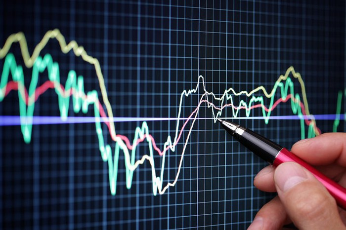 A person holds a pen to point at a portion of a stock chart.