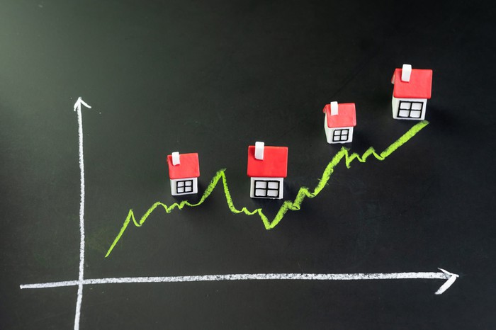 graph on chalkboard with uptrend showing houses along the way