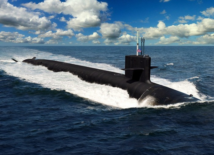 Artist rendering of the Columbia-class submarine in the water.