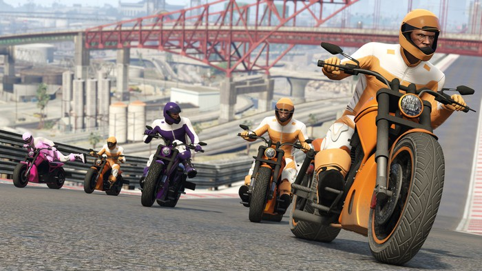Characters from 'Grand Theft Auto V' on motorcycles.