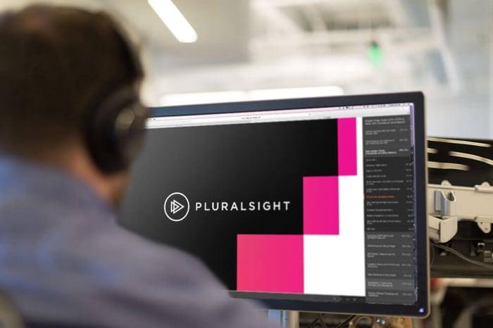 A user taking an online course on Pluralsight's platform