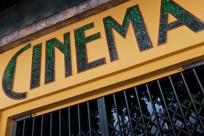 Cinema sign with locked doors.