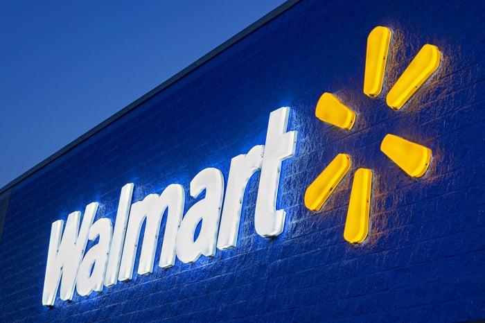 Walmart signage at night.