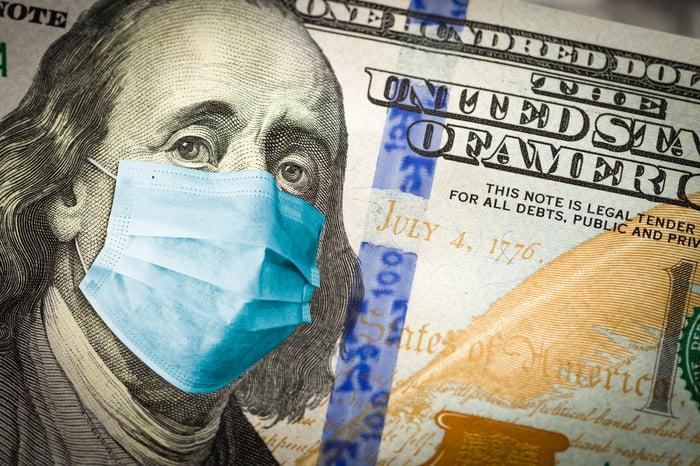 Benjamin Franklin on hundred dollar bill wearing a face mask