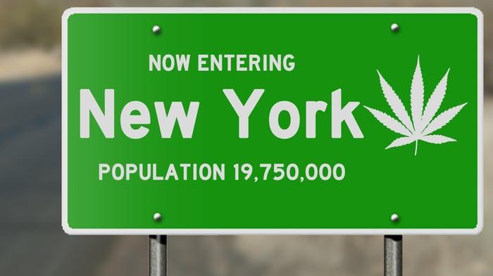 A New York road sign with marijuana leaf.