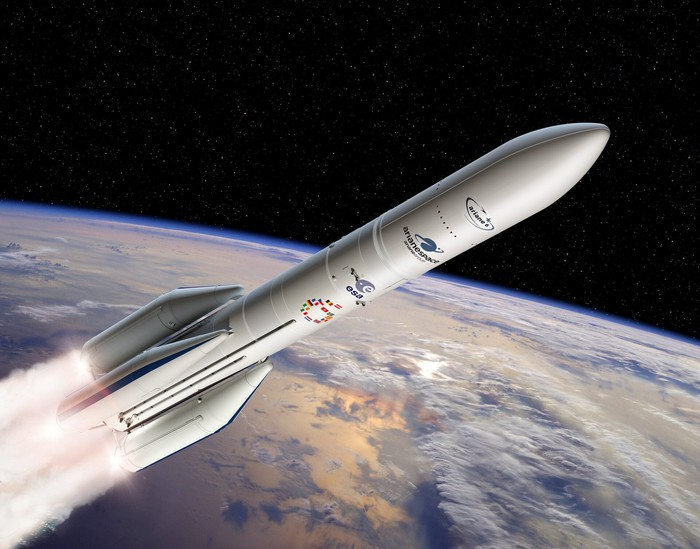 Artist's conception of Ariane 6 rocket with Earth and space in the background