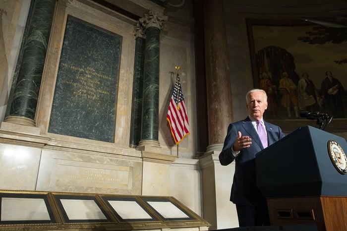 Joe Biden behind a podium.