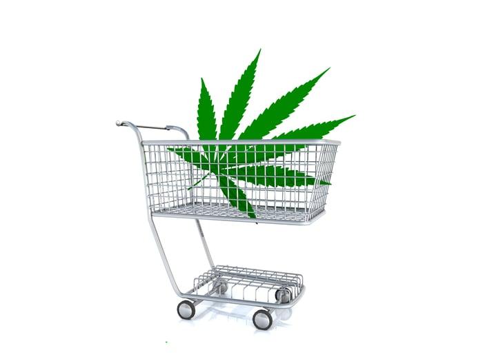Cannabis leaf in a tiny shopping cart.
