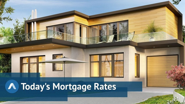 Large, modern-style home in the suburbs with Today's Mortgage Rates graphic.